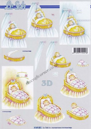 Baby Asleep In A Crib Designs 3d Decoupage Sheet